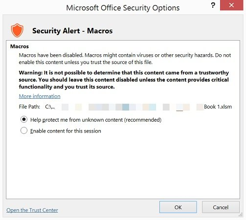 Microsoft Office Security Options dialog in Excel