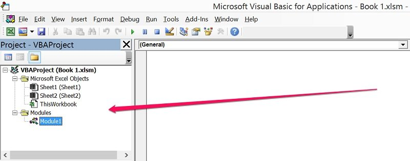 Project Window in Visual Basic Editor