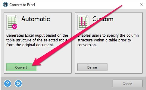 Automatic PDF conversion to Excel button