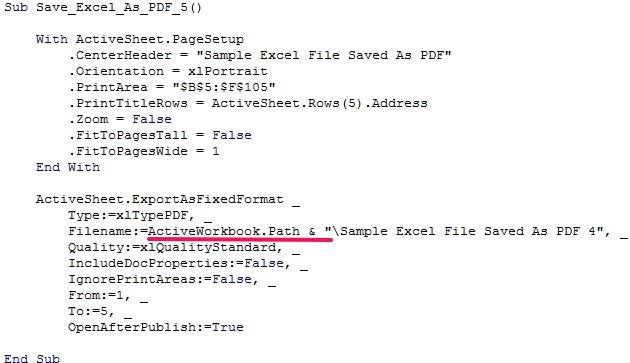 VBA code to save as PDF with file path