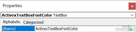 ActiveX Text Box Name in Properties Window