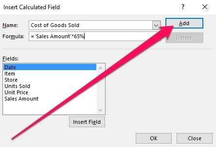 Insert Calculated Field dialog and Add