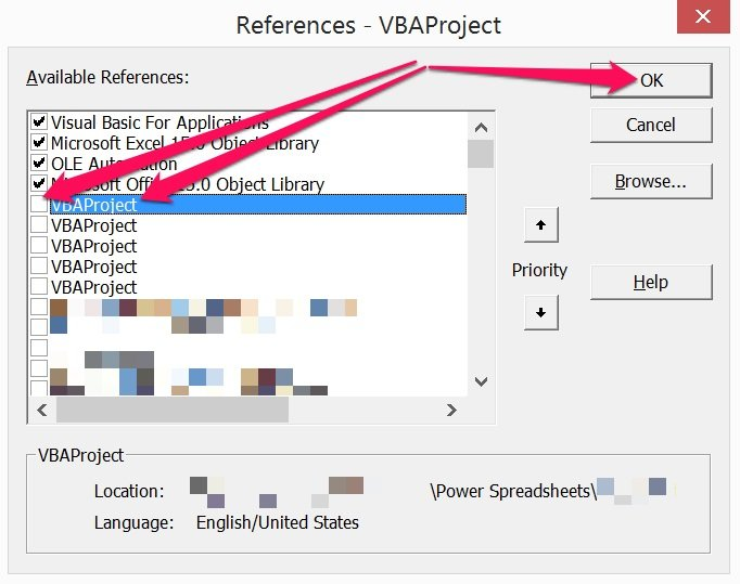 How to add Excel workbook as reference in Visual Basic Editor