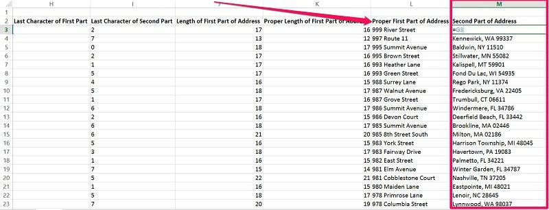 Organized first and second part of addresses in database