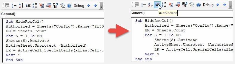 Add proper code indentation