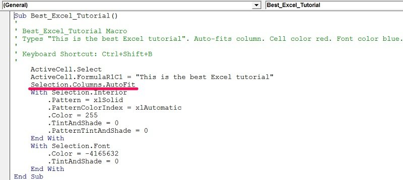 Example of AutoFit as a method in Visual Basic for Applications