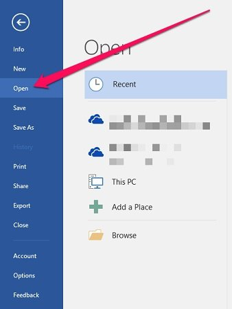 Open tab in Word Backstage View