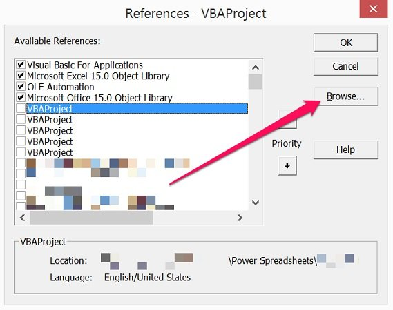 Browse button in References dialog of VBE