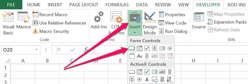 Location of Button Form Control in Excel