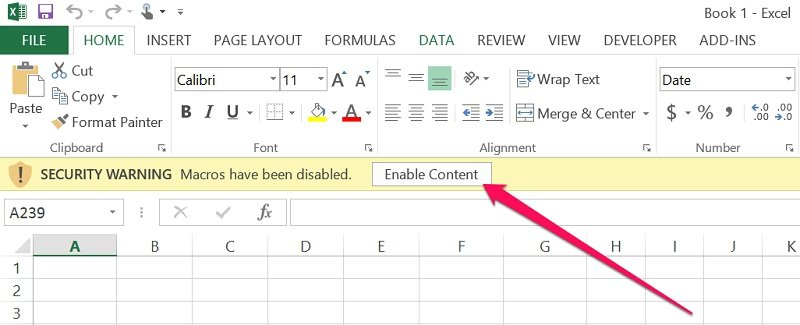 button to enable macros in excel