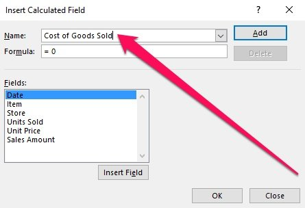Insert Calculated Field dialog and Name
