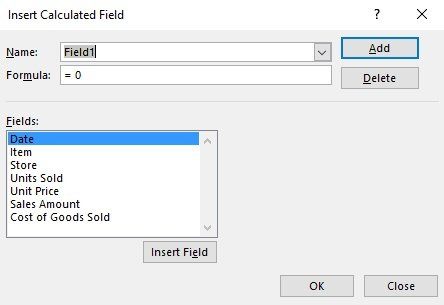 Insert Calculated Field dialog
