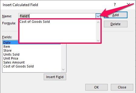 Insert Calculated Field and Name drop-down list