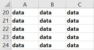 Cells with data and bold formatting, but no cell fill color