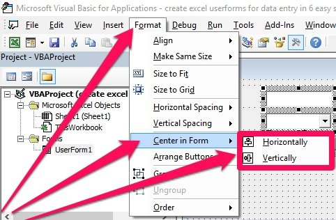 Format > Center in Form > Horizontally, Vertically