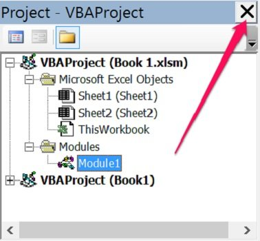 Close button in Project Window of VBE