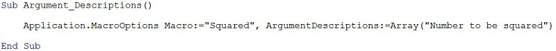 Argument description code for VBA Function procedure