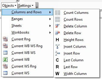 Objects > Columns and Rows
