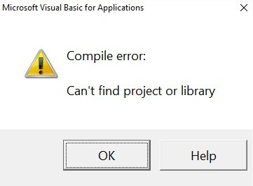 Compile error dialog box caused by lack of referenced library