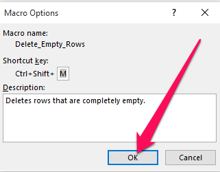 confirm macro keyboard shortcut
