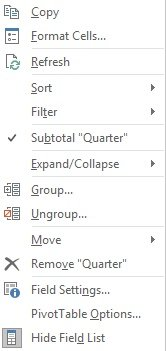 Context menu to ungroup date Fields