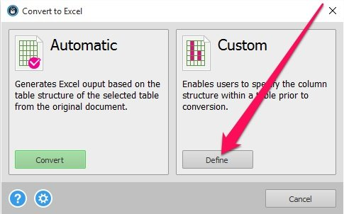 Option for custom PDF conversion to Excel