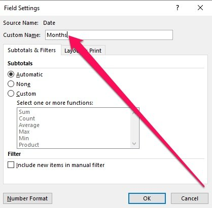 Field Settings and Custom Name