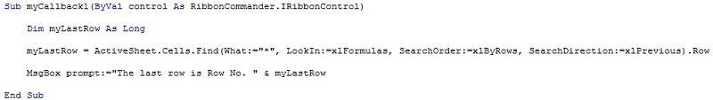 VBA code for delegate stub in custom Excel Ribbon