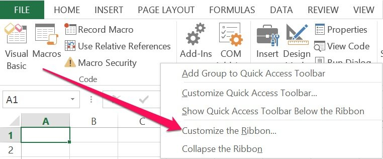 Customize the Ribbon option in Excel