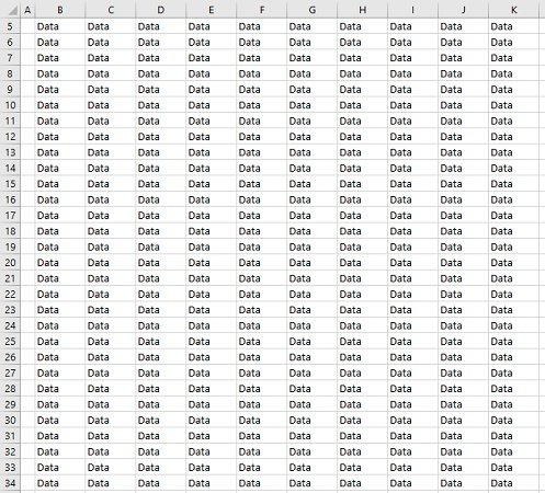 Excel worksheet with data