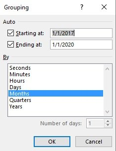 Grouping dialog box for date/time Fields