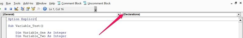 How to know you're in Declarations section