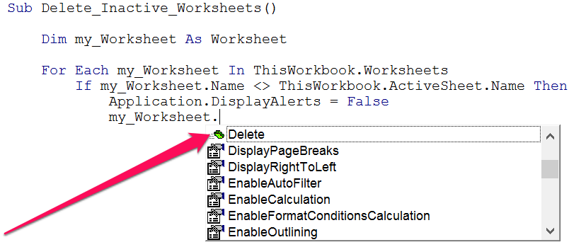 Delete method in list within VBE