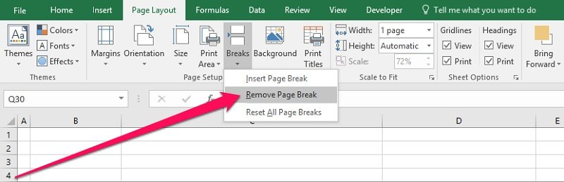 Ribbon > Page Layout > Breaks > Remove Page Break
