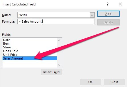 Insert Calculated Field > Field double-click