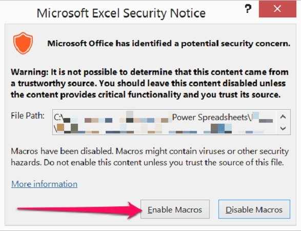 Enable Macros button in Security Notice