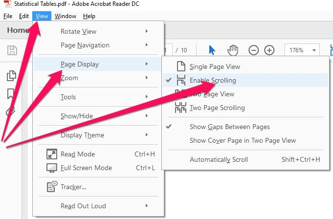 Page Display keyboard shortcuts for Adobe Reader