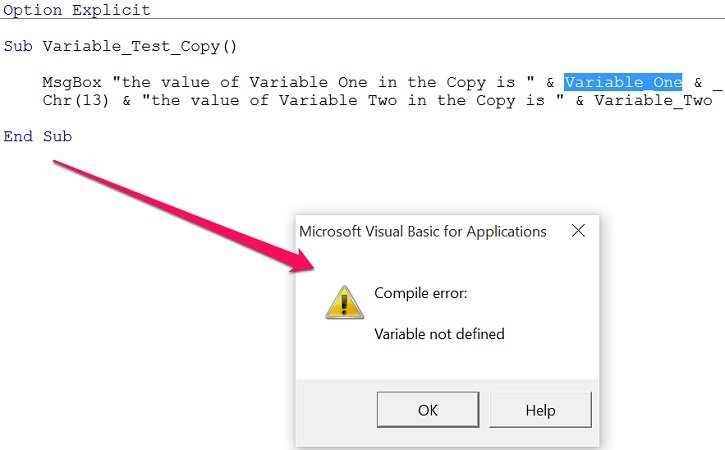 assign a variable in excel