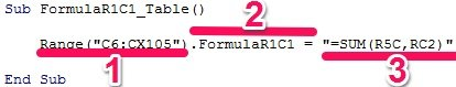 Sample Sub procedure with FormulaR1C1