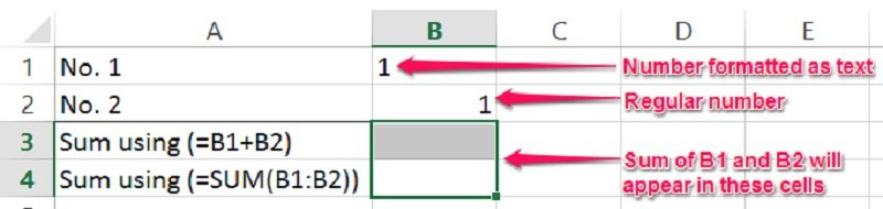 Example of a number being treated as text by Excel