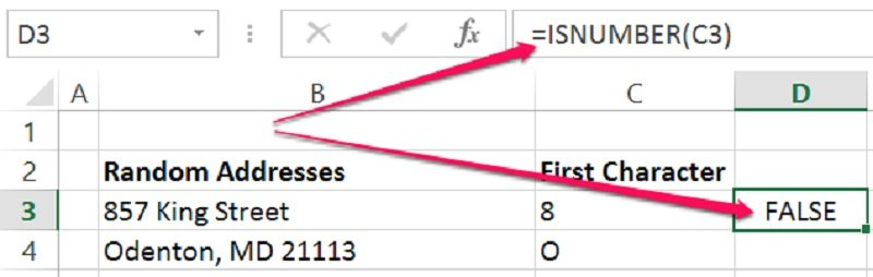 Example of how ISNUMBER function can return FALSE for numbers