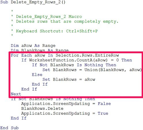 Example of a For Each...Next statement in macro to delete empty rows