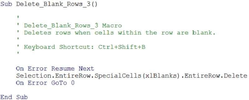 Excel macro code that deletes rows with blanks