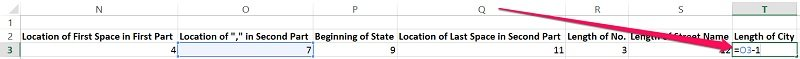 Example of formula used to calculate the length of a city name