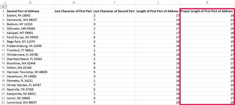 Example of results obtained when length of string minus last character is calculated in 1000 rows