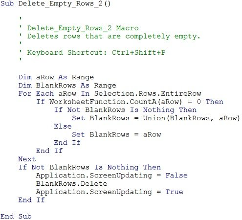 Example of VBA code for a macro that deletes empty rows
