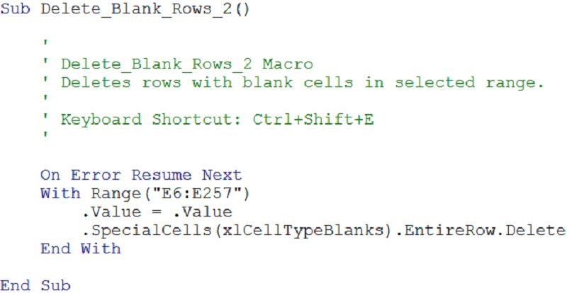 Example of VBA code for macro that deletes rows with blank cells