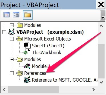 References node in Project Explorer