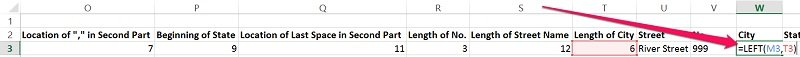 Example of the syntax for the LEFT function in Excel