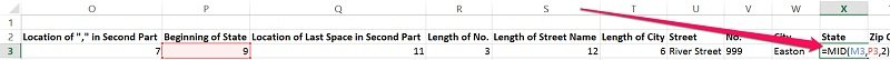 Example of the syntax of the MID function in Excel
